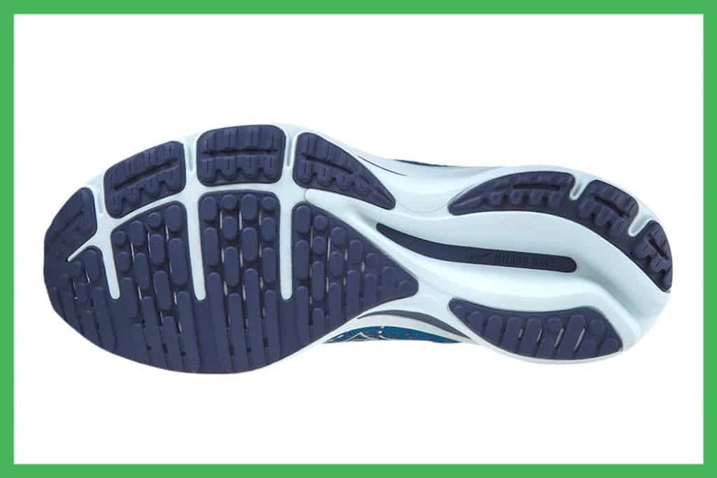 Mizuno Wave Rider 25 X10 carbon rubber outsole with flex grooves