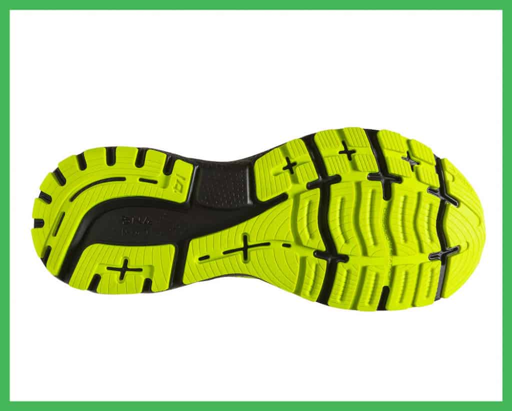 Brooks Ghost 14 rubber outsole with flex grooves